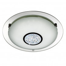 Mirrored LED Chrome Glass Large Flush Ceiling Light