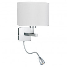 Chrome Curved Wall Light With White Shade & LED Flexi Arm
