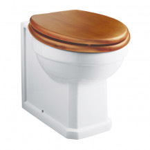 Park Royal ™ Back to Wall Toilet with Sit Tight Antique Pine Effect Solid Wood Toilet Seat with Chrome Hinges
