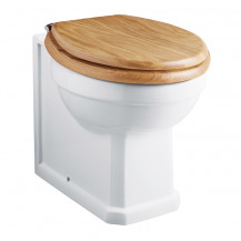 Park Royal™ Back to Wall Toilet with Sit Tight Solid Oak Toilet Seat with Chrome Hinges