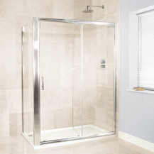 Aquafloe™ 6mm 1400 x 760 Sliding Door Shower Enclosure