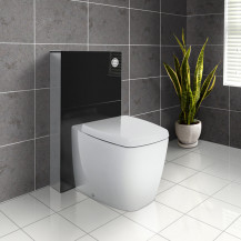 Black Deluxe WC Unit and Concealed Cistern with Calder Back to Wall Toilet