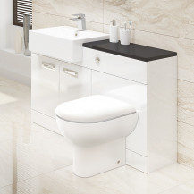Cuba Right Hand Combination Unit with Black Worktop and Tabor Toilet