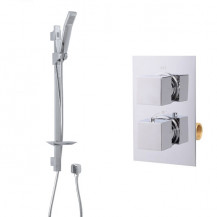 Quadro Slide Shower Rail Kit with EcoCube Dual Valve & Wall Outlet