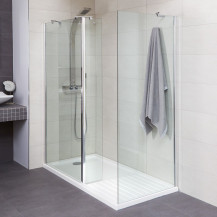 Aqualine™ 8mm 1600 x 800 Walk In Enclosure with Slimline Shower Tray