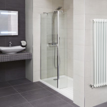 Aqualine™ 8mm 1600 x 800 Walk In Recess Enclosure with Slimline Shower Tray