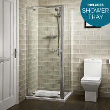 Aqualine™ 760 x 760 6mm Pivot Door Shower Enclosure with Shower Tray