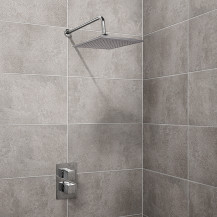 EcoCube Dual Valve with 250mm Square Shower Head, Filler & Overflow