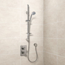 Eco Slide Shower Rail Kit with EcoStyle Dual Valve, Wall Outlet, Filler & Overflow