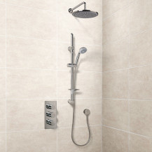 Eco Slide Shower Rail Kit with EcoS9 Triple Valve, 250mm Head, Wall Outlet, Filler & Overflow