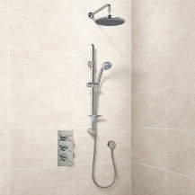 Eco Slide Shower Rail Kit with EcoStyle Triple Valve, 200mm Head, Wall Outlet, Filler & Overflow