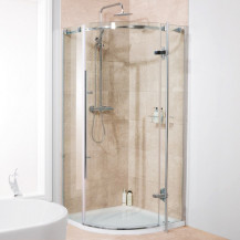 Alona 6mm 800 x 800 Frameless Hinged Door Quadrant Shower Enclosure