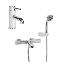Peru Deluxe Wall Bath Shower Mixer with Wall Bracket, Eco Round Handset & Focus Basin Mono Tap