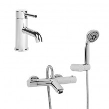 Peru Deluxe Wall Mounted Bath Shower Mixer with Wall Bracket, Eco Round Handset & Focus Basin Mono Tap