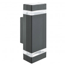 Black 2 Light Outdoor Wall Light With Clear Diffuser