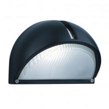 Black Aluminium Half Moon Outdoor Wall Light With Ridged Frosted Glass