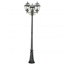 New Orleans 3 Arm Black & Gold Outdoor Post Light