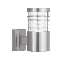 Satin Silver Outdoor Wall Light With Polycarbonate Diffuser
