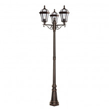 Capri 3 Arm Rustic Brown Outdoor Post Light With Bevelled Glass
