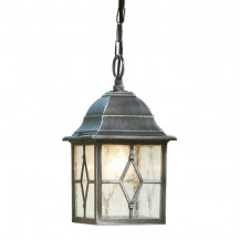 Genoa Black & Silver Outdoor Porch Light With Lead Glass