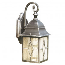 Genoa Black & Silver Outdoor Wall Light With Lead Glass