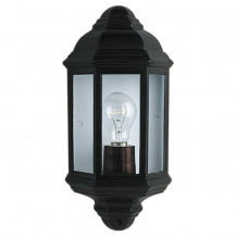 Black Cast Aluminium Outdoor Wall Light With Clear Glass