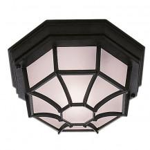 Black Hexagonal Flush Outdoor Light With White Sanded Glass