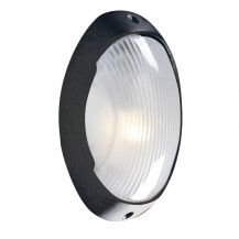 Black Bulkhead Outdoor Porch Wall Light With Polycarbonate Diffuser