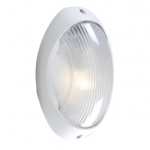 White Bulkhead Outdoor Porch Wall Light With Polycarbonate Diffuser