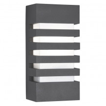 Dark Grey Grilled Outdoor Wall Light With Polycarbonate Diffuser
