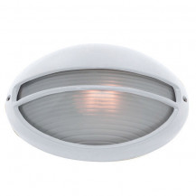 White Oval Bulkhead Outdoor Wall Light With Ridged Opal Glass