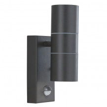 Black 2 Light Outdoor Wall Light With Motion Sensor