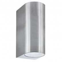 Silver Outdoor Double Wall Light With Fixed Glass Lens