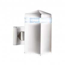 Satin Silver Square Edged Outdoor LED Wall Light With Clear Diffuser
