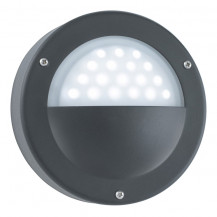 Black 18 LED Circular Outdoor Wall Light With Acid Glass