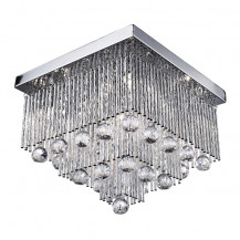 Beatrix Square Chrome Twisted Crystal Ceiling Light