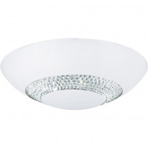 Halo White Clear Crystal Glass LED Flush Ceiling Light