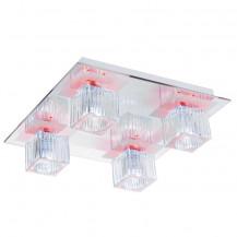 Cool Ice Chrome Ribbed Glass LED Flush Ceiling Light