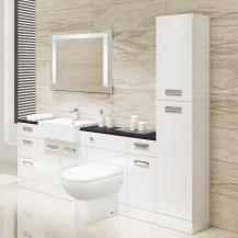 Cuba Toilet & Basin Left Hand Furniture Bathroom Suite with Black Worktop