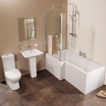 Veneto Verona Left Hand Shower Bath Suite With Taps