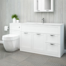 Nottingham 1000 White Combination Unit with Aurora Back to Wall Toilet
