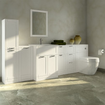 Nottingham White Furniture Bathroom Suite with Aurora back to wall toilet