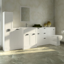 Nottingham White 1000 Furniture Bathroom Suite with Tabor Back to Wall Toilet
