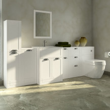 Nottingham White 1000 Furniture Bathroom Suite with Aurora Back to Wall Toilet