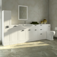 Nottingham White Semi Inset Furniture Bathroom Suite with Park Royal™ Toilet