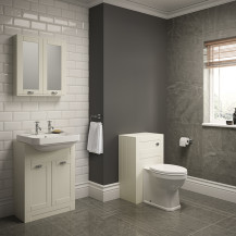 Nottingham Ivory Semi Inset 2 Tap Hole Combination Unit with Park Royal™  Back to Wall Toilet