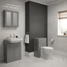 Nottingham Grey Semi Inset 2 Tap Hole Combination Unit with Park Royal™  Back to Wall Toilet