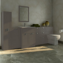 Nottingham Grey 1000 Furniture Bathroom Suite with Tabor Back to Wall Toilet