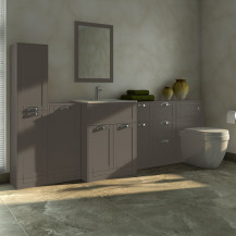 Nottingham Grey 1000 Furniture Bathroom Suite with Aurora Back to Wall Toilet
