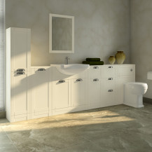 Nottingham Ivory Semi Inset Furniture Bathroom Suite with Park Royal™ Toilet
